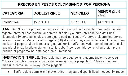 Precios Turquía desde Colombia